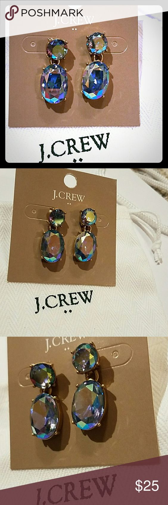 J. Crew Blue Crystal Earrings Brand new with tags and dust bag J. Crew Jewelry Earrings