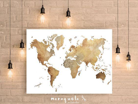 World map Brown Hues original watercolor. Large Wall by Maraquela