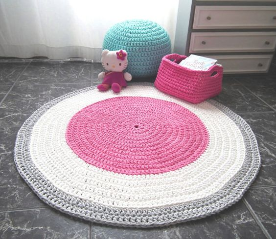 Crocheting Round Rugs : Pink Crochet Round Rug - Pink Cotton Rag Rug - Girls Room Pink Rug ...