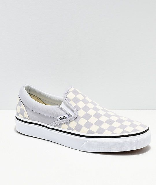 Vans Slip On Checkerboard Grey, Dawn & White Shoes | Shoes ...