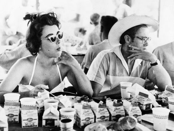 "vintage everyday: Candid Photos of Liz Taylor and James Dean on ""Giant"" set, 1955"