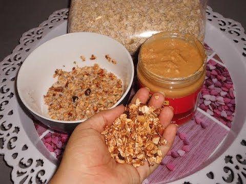 759 جرانولا او مويسلي منزلي لذيذ مع طريقة تحضير زبدة الفول السوداني Youtube Food Breakfast Oatmeal
