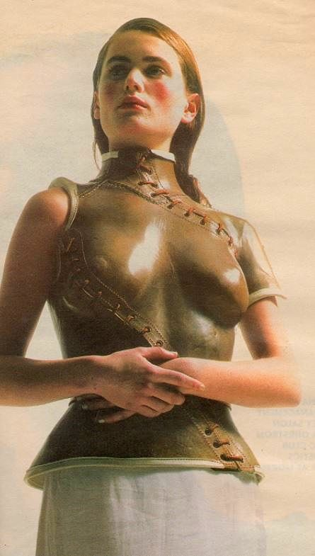 Brown leather prosthetic bodice originally worn by Aimee Mullins . This shoot for  'The Independent on Sunday' 4 Apr. 1999 . Photography : Tesh . Styling : Aurelie Lambillon . Bodice made by prosthetics specialists at Roehampton Hospital London for Alexander McQueen .