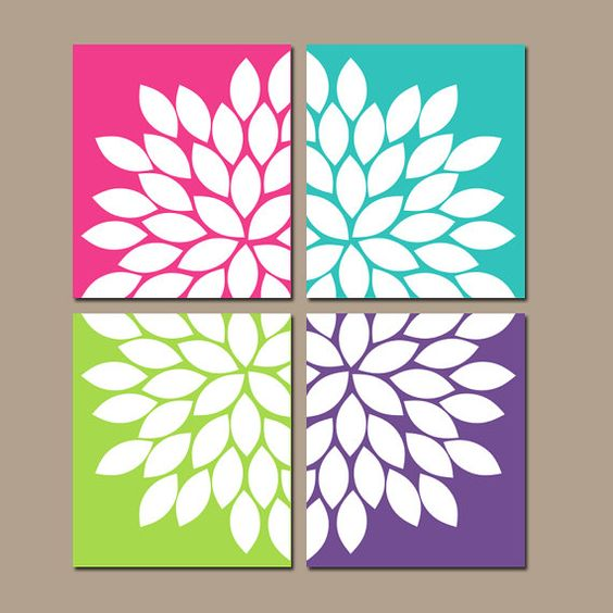 Vintage Bedroom Design Ideas Turquoise Bedroom Paint Ideas Bedroom Decor Items Bedroom Ideas Mink: Flower Petal Wall Art, Colorful Girl Bedroom Pictures