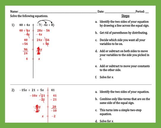Pin On One Two Multi Step Equations And Inequalities