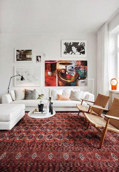 Modern otthonok perzsa szőnyeggel: