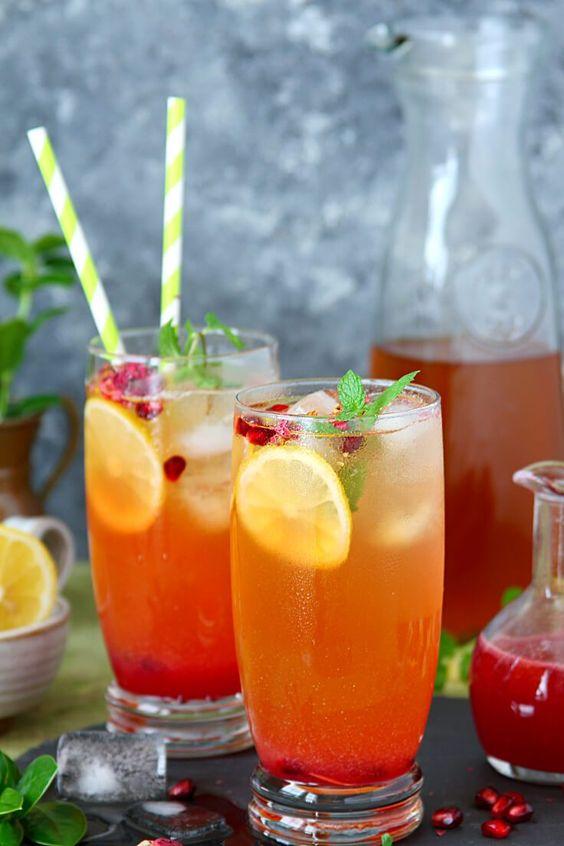 pomegranate rose iced tea
