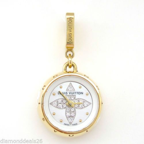 Louis Vuitton Watch Charm Pendant Authentic 18K Gold Tambour Bijou Swiss Made