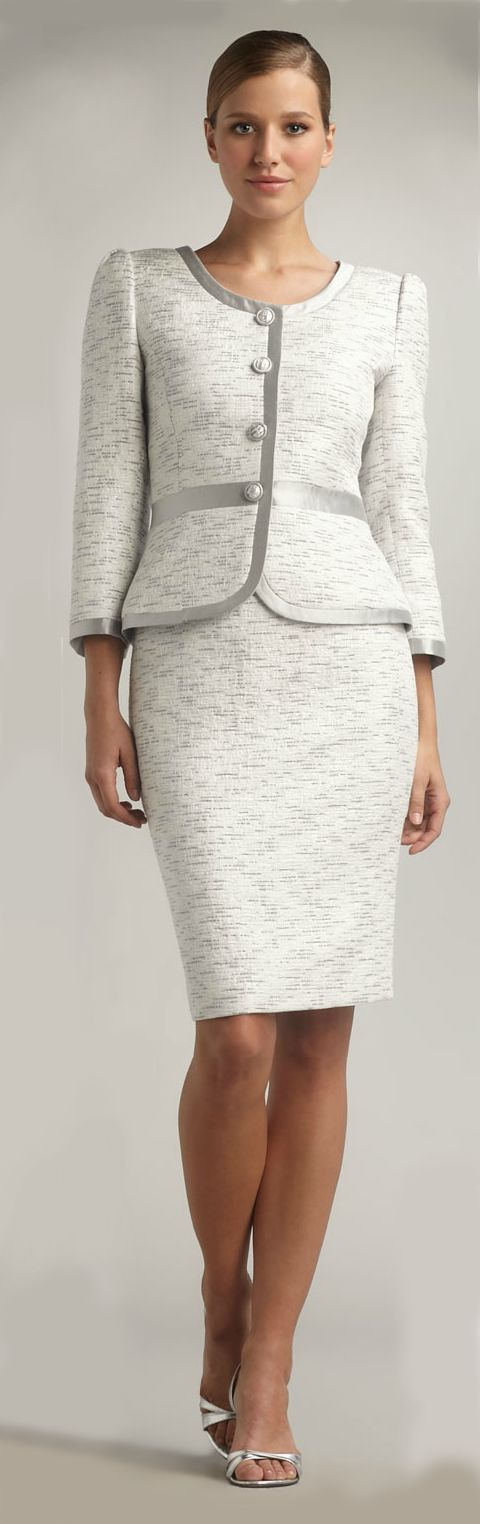 Women's White Silver-trimmed Skirtsuit | Grey, Sexy and Skirts