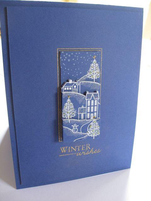 handmade card ... monochromatic blue ... winter them lineart village embossed in white ... less is more ... elegant card!!