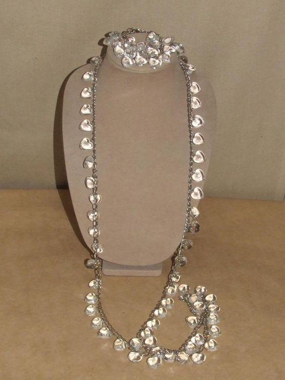 Vintage LONG Puffy Clear Lucite Multi Pendant Charm Heart Necklace Bracelet Set