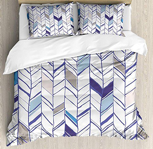 Chevron Duvet Cover Set Twin Size Tribal Zigzag Lines Pattern In Various Shades Geometric Boho Sketch Deco Duvet Cover Sets Chevron Duvet Covers Duvet Covers