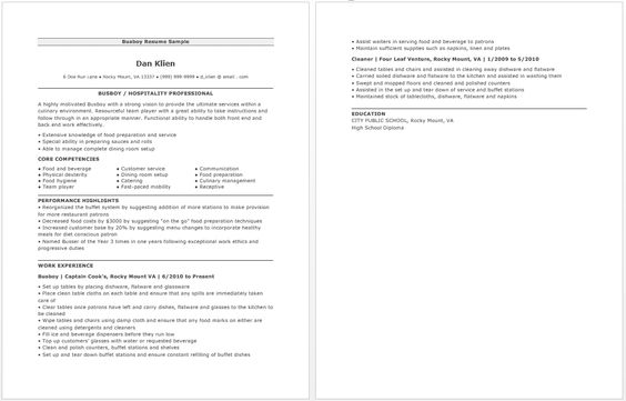 Busboy Resume resume sample Pinterest - public service officer sample resume