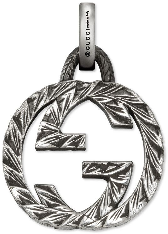 Introducing a collection of charms in sterling silver. The interlocking G is engraved with an intricate pattern. Designed to coordinate with the silver charm bracelet. <ul> <li>Sterling silver</li> <li>Concealed clasp closure</li> <li>Made in Italy</li> <li>Gucci guarantees, internally and within its supply chain, respect for standards of Social & Environmental Responsibility in line with its sustainability strategy</li&g