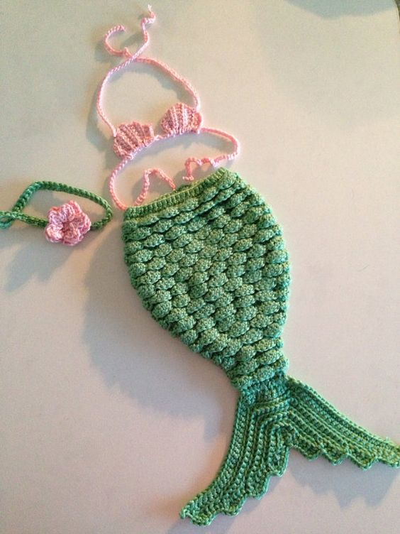 Newborn Mermaid Costume | MADE TO ORDER Crochet Newborn Mermaid Costume pink by zaydascloset...love this...if only we had a babe!