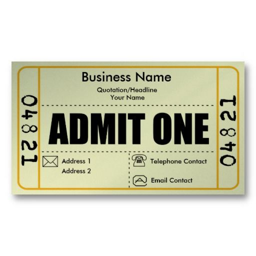 Admit One Vintage Ticket Business Card http\/\/wwwecrafty\/c-81 - admit one ticket template