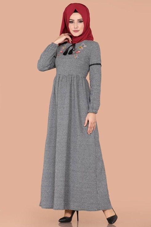 Elbise Nakisli Kislik Elbise 5425mp186 Gri Elbise Kadin Giyim Elbiseler