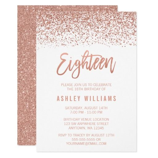 Modern Rose Gold Faux Glitter 18th Birthday Invitation Zazzle Com Sweet Sixteen Invitations 16th Birthday Invitations Gold Sweet 16 Invitations
