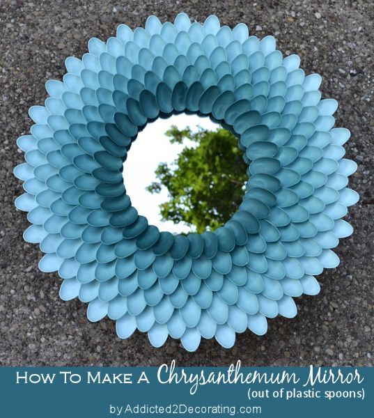 Chrysanthemum mirror made out of plastic spoons