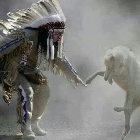 An Indian and the two wolves.