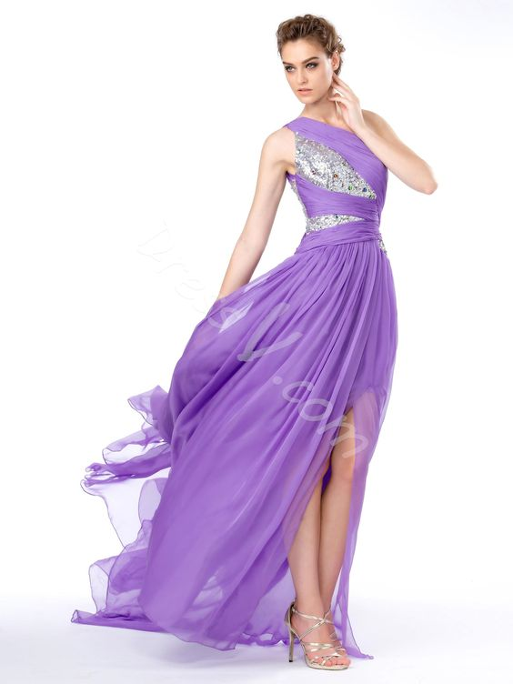 Customizable able Ruched Sequined Bodice Split-Front One Shoulder Evening Dress #dressv reviews #fashion #dress #women #beauty #prom dress