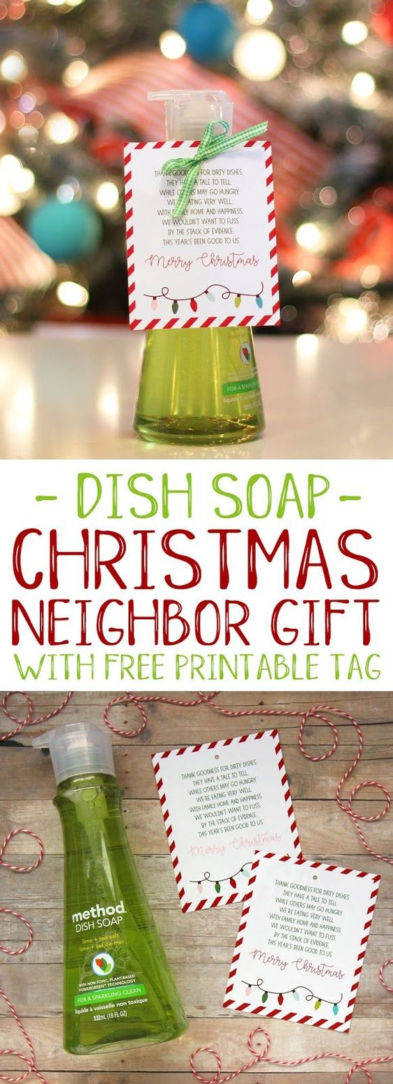 Easy and punny Christmas neighbor gift idea with free printable tag #christmas #christmasgifts #neighborgifts #giftidea