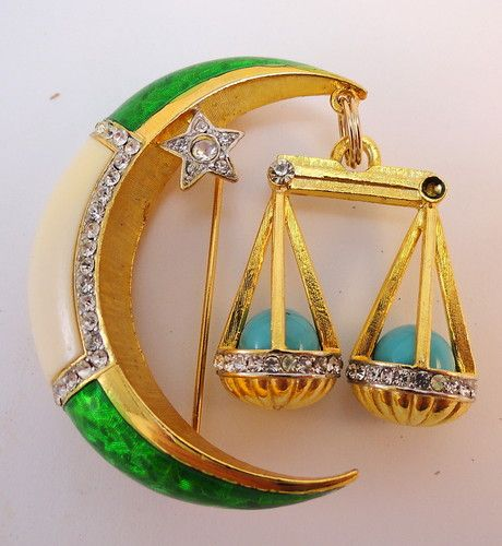 DeNicola Libra Zodiac Astrological Sign Enamel Brooch Scales Crescent Moon 60's