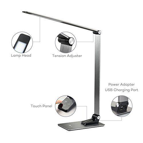 TaoTronics Metal LED Desk Lamp (Metal Body, Touch Control, 3 Lighting Modes, 3 Brightness Levels, USB Charging Port) - - Amazon.com