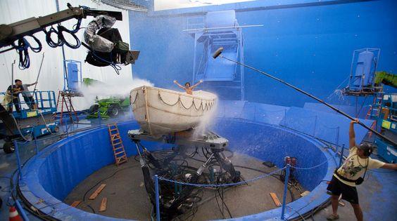 Imagen del rodaje de 'La vida de Pi' (Life of Pi) - http://www.canalrgz.com/peliculas/ficha/2156/la-vida-de-pi