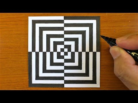 How To Draw Geometric Optical Illusion Art 3d Trick Art On Paper Tutorial Youtube Optical Illusions Art Optical Illusion Quilts Optical Illusion Drawing