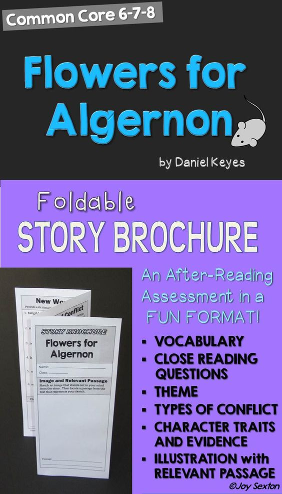 """This six-sided brochure for the short story """"Flowers for Algernon""""  will be a hit with your students as they practice Common Core skills in a fun format! Students cite text evidence, make inferences, experience new vocabulary, examine conflict, and determine theme. Cover artwork provides a nice touch for a great display!"""