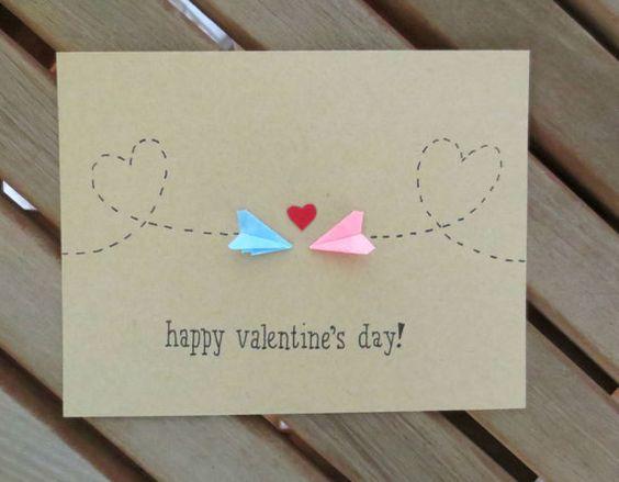 long distance valentine, valentine's card, valentine's day card, paper airplane valentine, cute valentine, plane valentine, handmade: