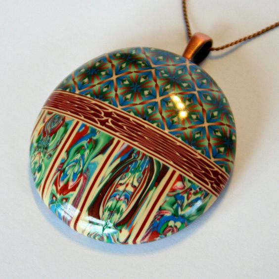 Blue Green Topaz Rust Ecru Domed Pendant Necklace FREE US SHIPPING. $26.99, via Etsy.