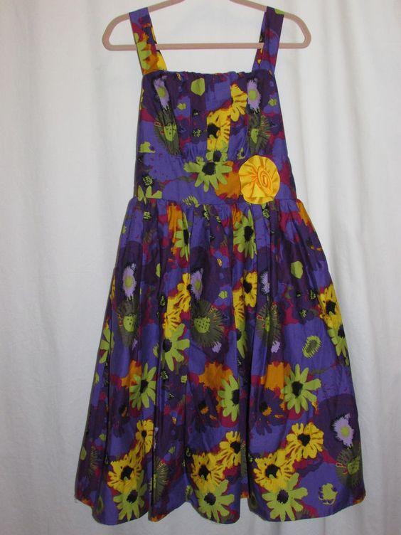 JENNY & ME Girl's Sz 12 Purple Flowers Party Sundress Fully Lined Tulle Cotton #JennyMe #DressyEveryday