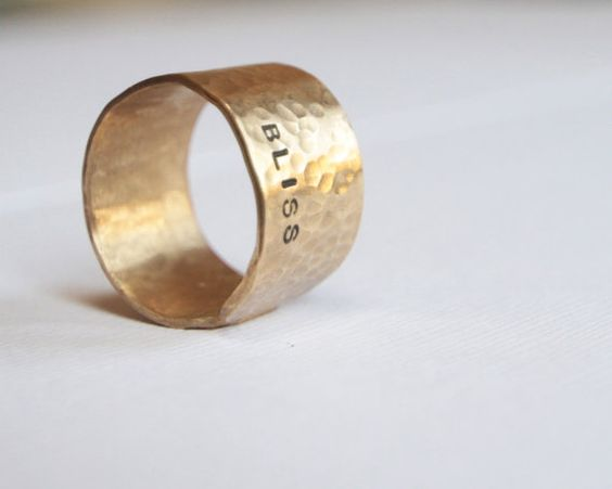 Personalized Inspirational Rustic Gold Dust Rings  by amywaltz, $29.00