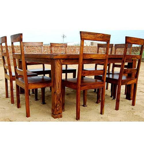 Rustic 8 Person Large Kitchen Dining Table Solid Wood 9 Pc: Rustic 9 Pc Square Dining Room Table For 8 Person Seat