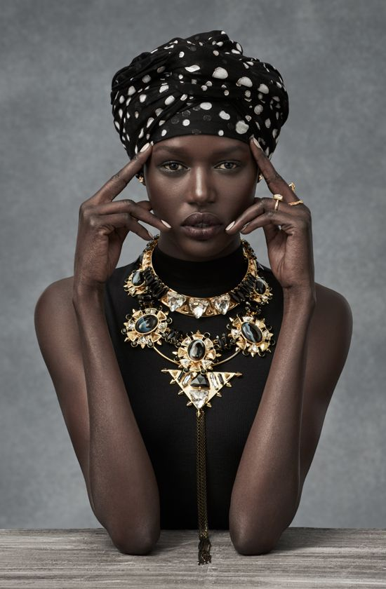A neclace can be a contrast pattern to fabric patterns and still work.                                 Ajak Deng - Code: Afriquette #mimco #ajakdeng #campaign
