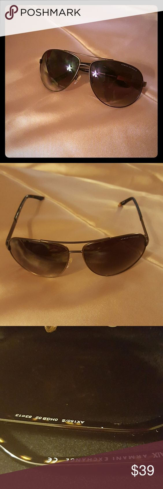 Aviator AIX Armani Exchange sunglasses Very nice light and dark brown with brown metal frame. comes with red velvet box it's New but no tags. Armani Exchange Accessories Sunglasses