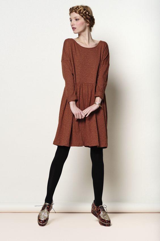 robe Tenille brun 100% coton flammé - robe - Des Petits Hauts