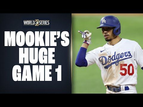Dodgers Mookie Betts Goes Off In World Series Game 1 2 For 4 1 Homer 2 Steals Youtube In 2020 Mookie Betts Game 1 Dodgers