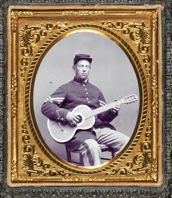 Library of Congress image: Edwin Chamberlain of Company G, 11th New Hampshire Infantry Regiment in sergeant's uniform with guitar.    Donated to the Library of Congress 2010 by Tom Liljenquist; Liljenquist Family Collection of Civil War Photographs.