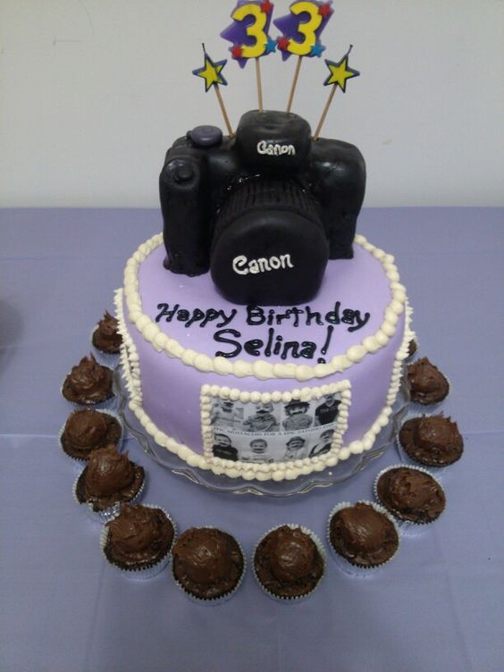 Followed my other pin on how to make a camera cake and did pretty good ! For my person Selina!!