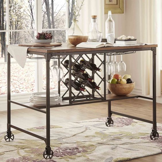 Kitchen Table With Wine Rack: TRIBECCA HOME Berwick Iron Buffet With Wine Storage By