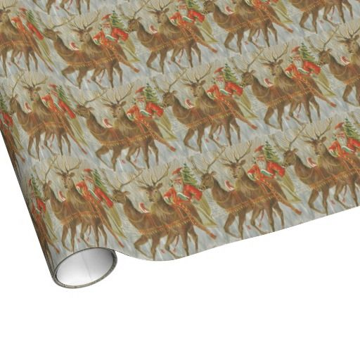 Vintage Santa's Sleigh Wrapping Paper has that Scandinavian feel.