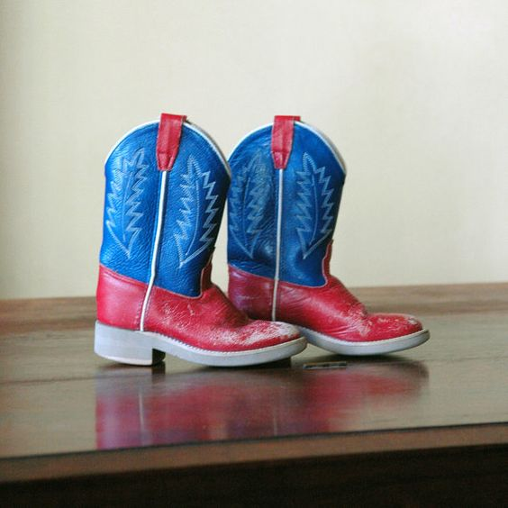 1970s Vintage Children's Boots // Red White & Blue by 86home, $148.00