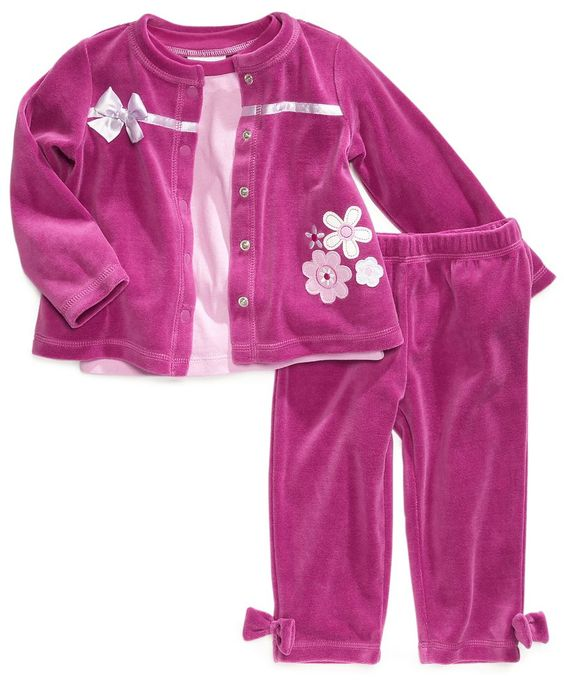 First Impressions Baby Set, Baby Girls Bow Velour 3-Piece Shirt, Jacket and Pants