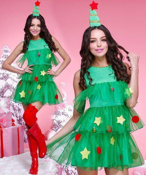 2pcs Womens Fancy Christmas Tree Voile Costume Cosplay Dress Hair Accessory Set Chris Xmas Fancy Dress Dress Up Costumes Christmas Tree Fancy Dress