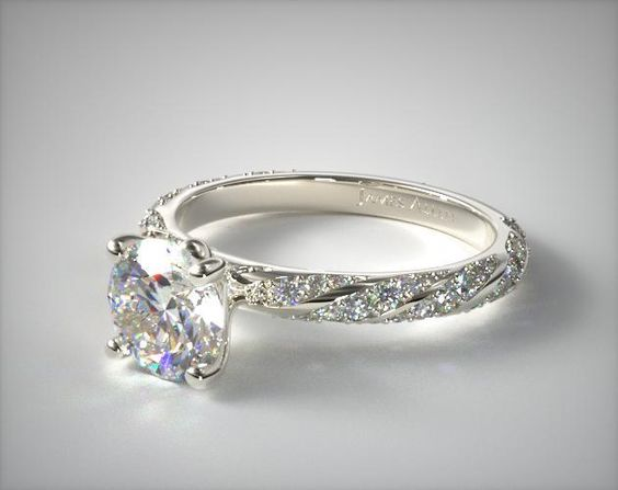 14K White Gold Twisted Pave Engagement Ring