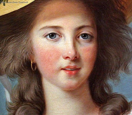 Detail from a portrait of Yolande Martine Gabrielle de Polastron, duchesse de Polignac, by Elisabeth Vigee-Lebrun. 1782.