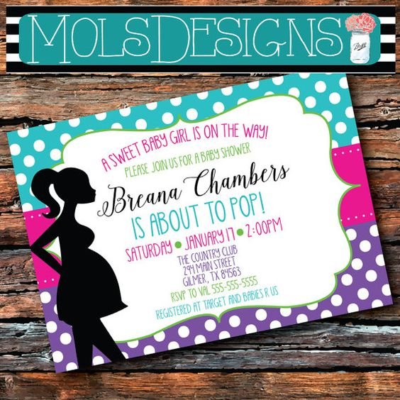 any color she's about to pop baby shower sprinkle pregnant woman silhouette polka dot green